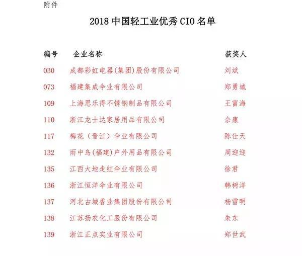 中国轻工业优秀CIO名单
